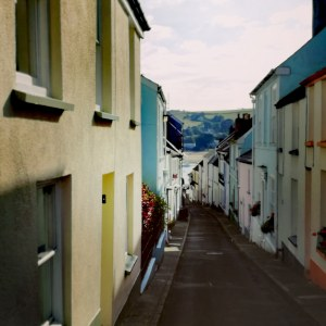 Cottages, cobbles, sea view, steep hill